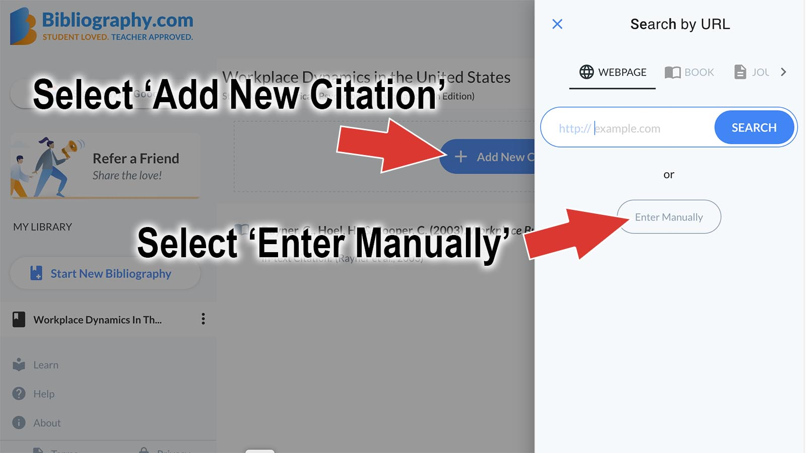 directions for manual citation generator