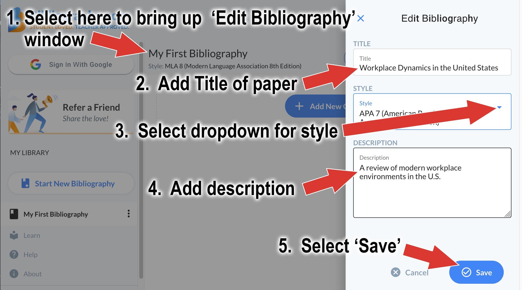 title style description citation generator