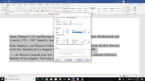 Creating hanging indents for bibliography citations in Word document