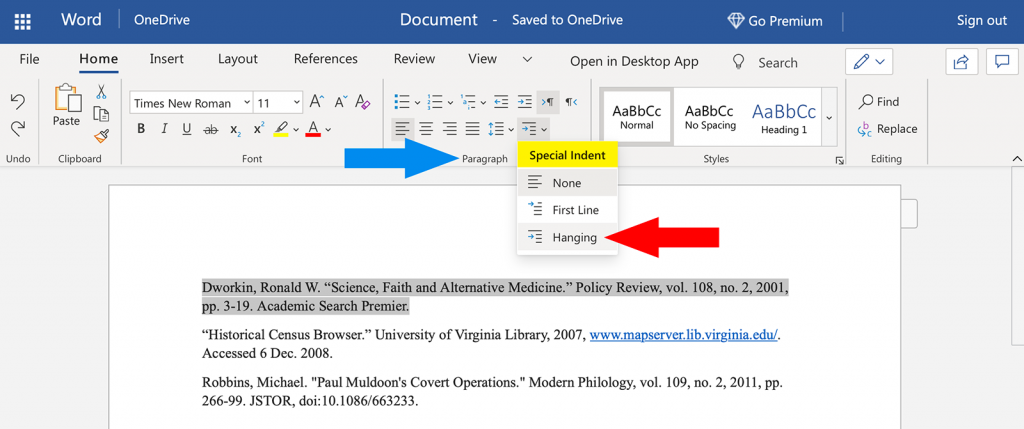 Word screenshot showing how to create a hanging indent in MLA format