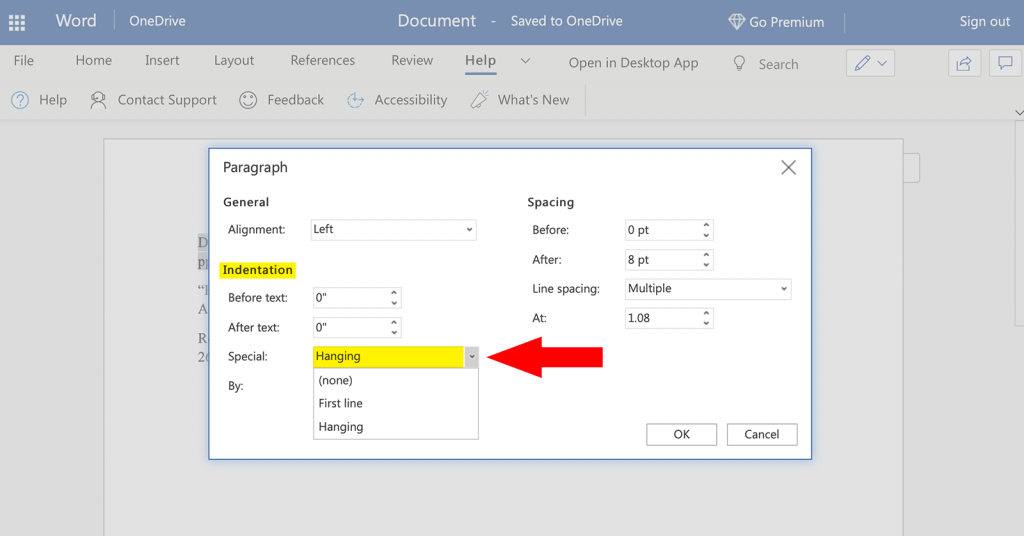 Tutorial screenshot showing how to create a hanging indent in MLA format in Word