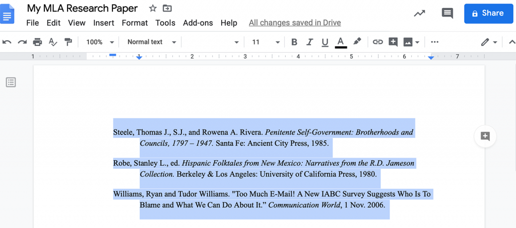 Citations with hanging indents in MLA format sample in Microsoft Word