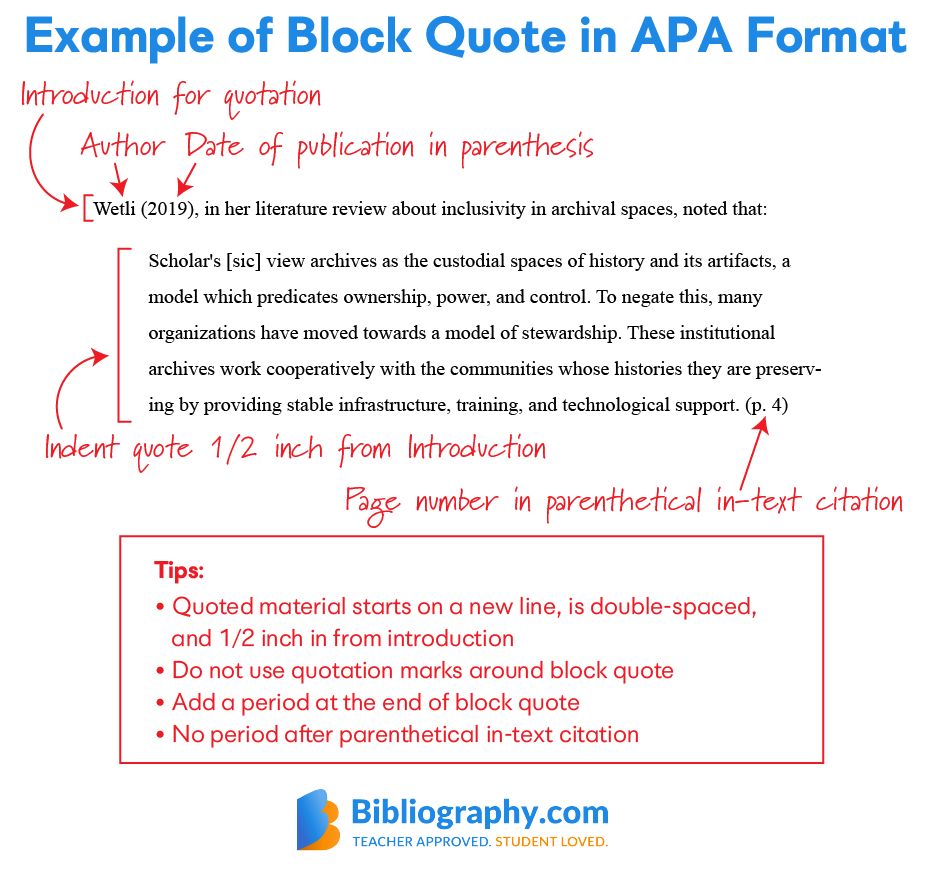example APA block quote