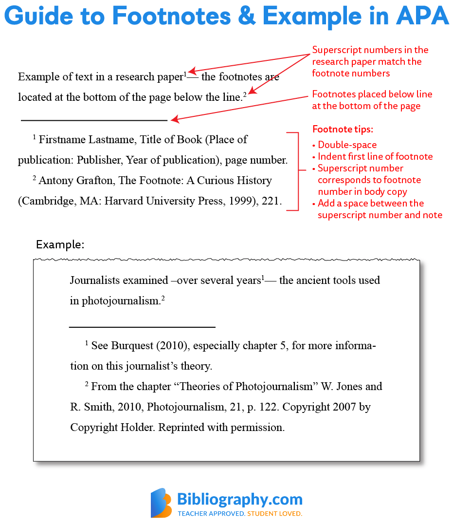 guide and example of footnotes in APA format