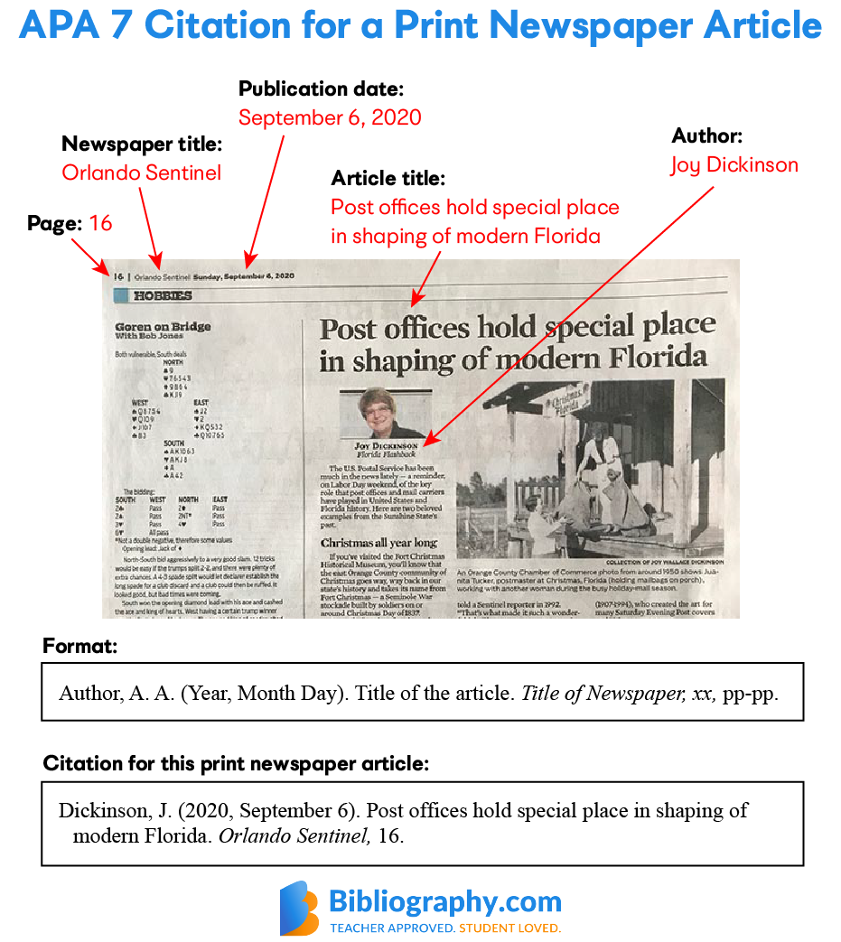 find information from print newspaper APA citation