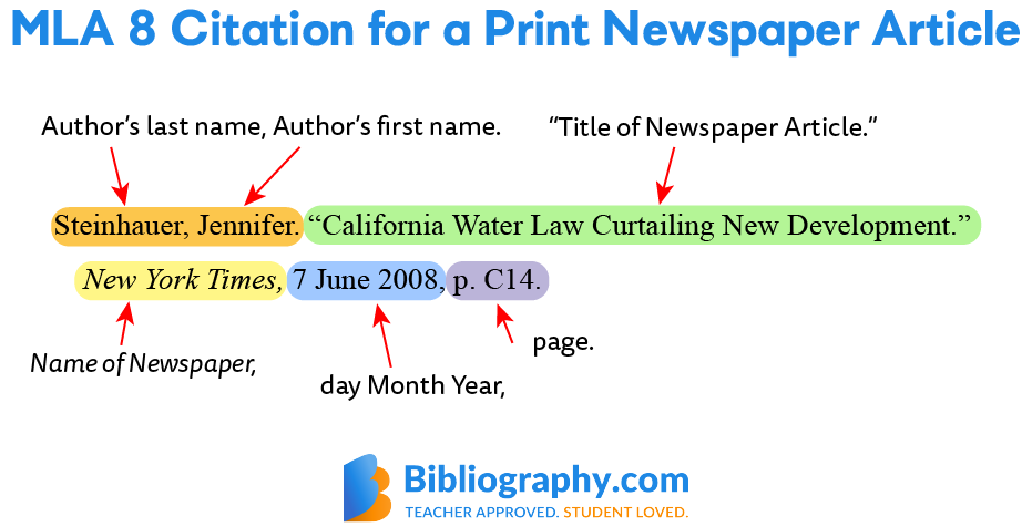 MLA 8 citation print newspaper article