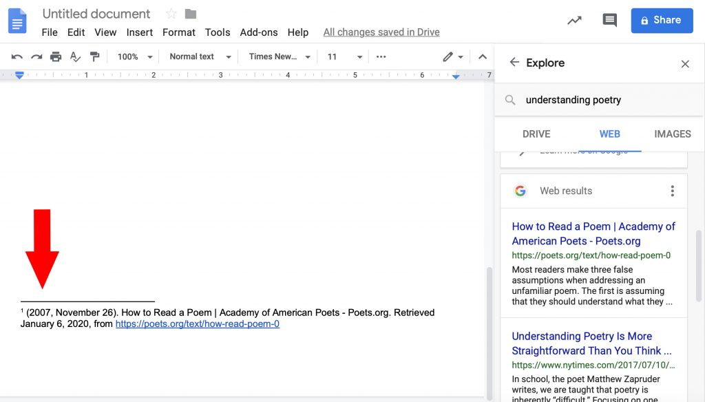 Numbered footnote in a Google Doc