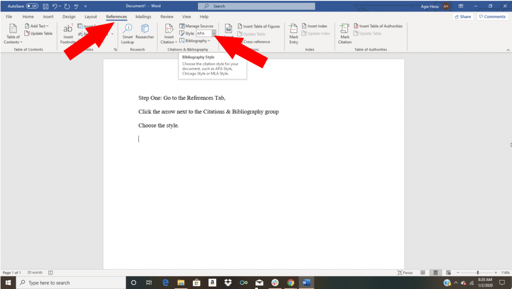 Word citation tutorial screenshot showing references tab