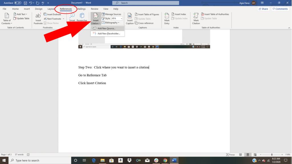 Word citation tutorial screenshot showing how to insert citation