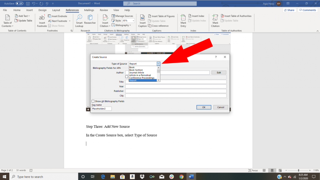 Word citation tutorial screenshot showing how to add a new source
