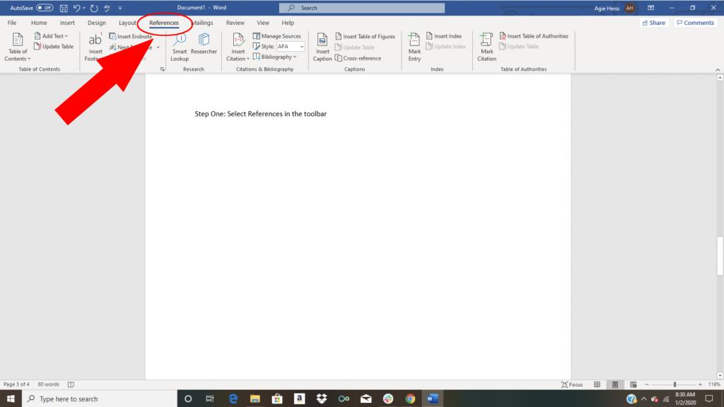 Word citation tutorial screenshot to make a bibliography