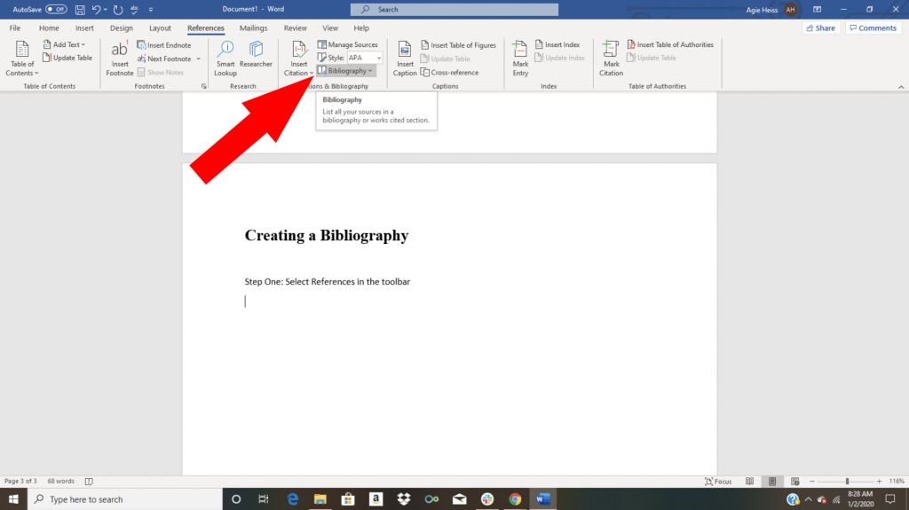 Creating a bibliography in Word citation tutorial screenshot