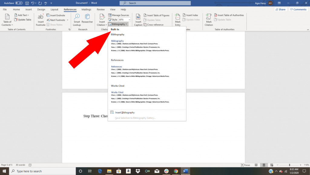 Word citation tutorial screenshot showing how to choose a format