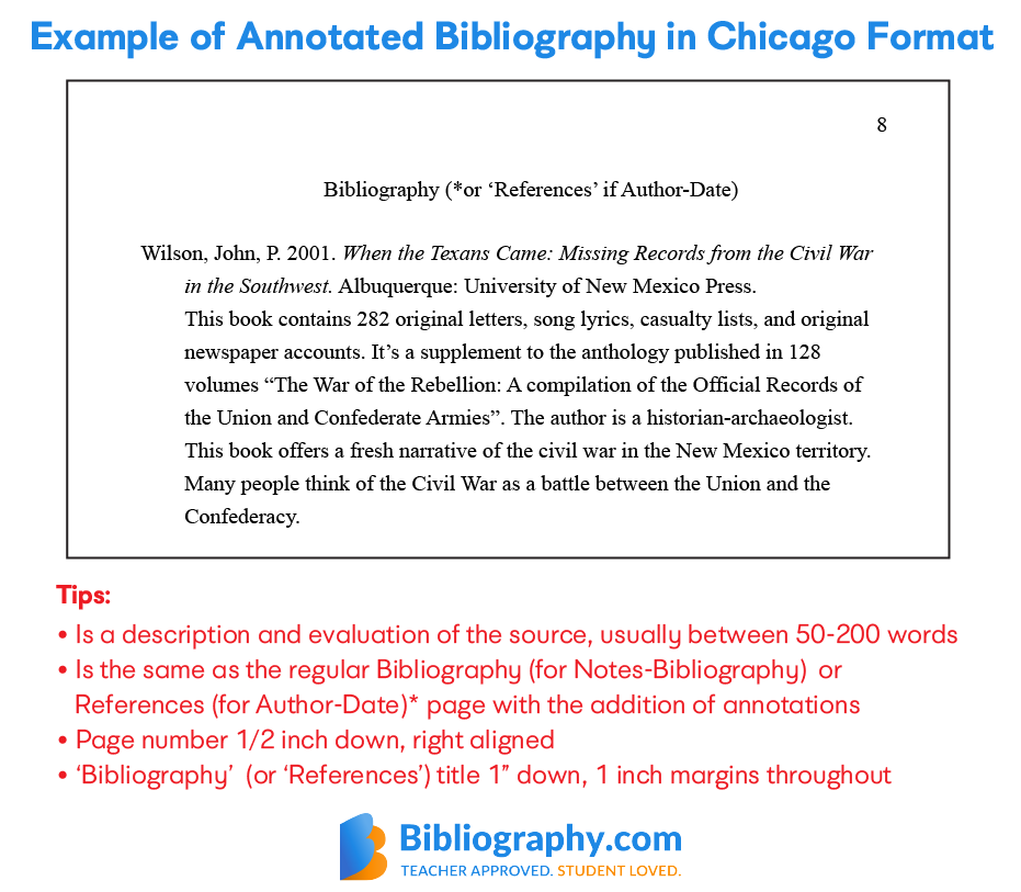 example annotated bibliography chicago format
