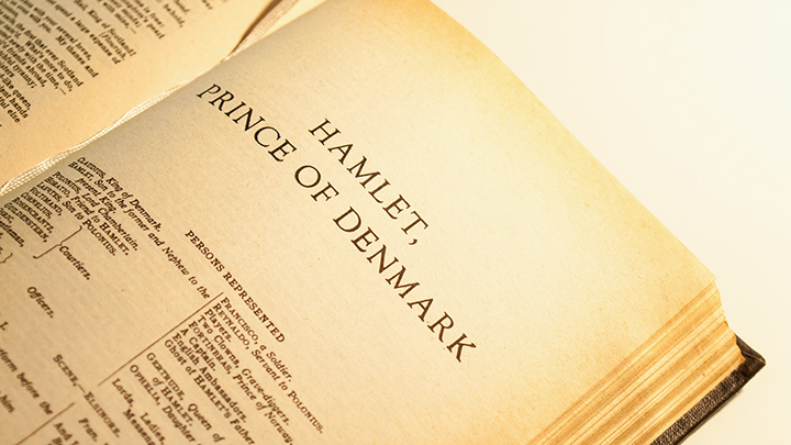 Book with Hamlet, Prince of Denmark play