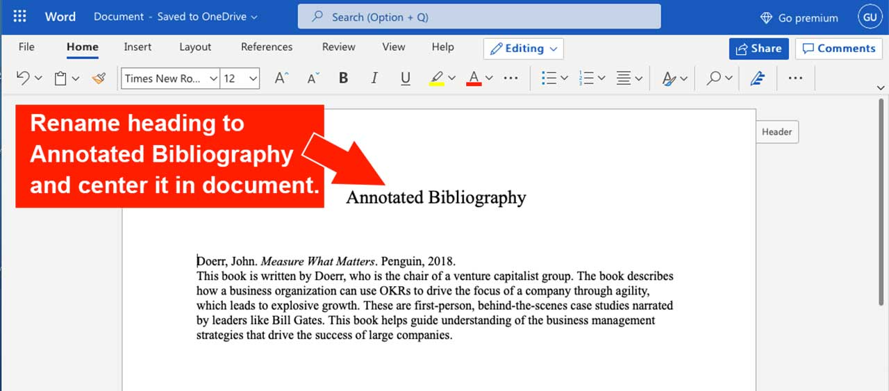 edit Microsoft Word document for annotated bibliography