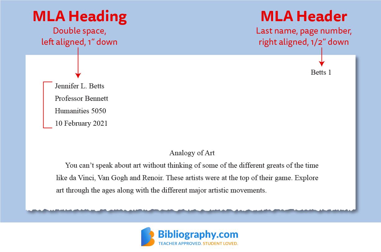 example MLA heading header format